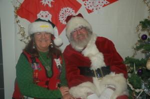 Vicki's Santa hat screams Go Chargers!!